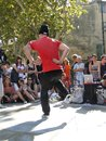 Hip hop breakdancers compete in pairs avignon france oct on the plaza of the palace of popes on oct avignon france Royalty Free Stock Images