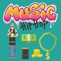 Hip hop character musician with microphone breakdance expressive rap portrait vector illustration. Royalty Free Stock Photo
