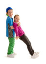 Hip hop dance partners kids a boy and girl practice their moves Royalty Free Stock Photos