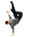 Hip hop dancer on a move isolated on white performing dance background Royalty Free Stock Photography