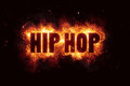 Hip hop fire flames burn burning text explosion explode Royalty Free Stock Photo