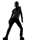 Hip hop funk dancer dancing man full length silhouette of a young funky r b on isolated studio white background Stock Photo
