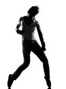 Hip hop funk dancer dancing man full length silhouette of a young funky r b on isolated studio white background Royalty Free Stock Images
