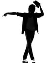 Hip hop funk dancer dancing man silhouette full length of a young funky r b on isolated studio white background Royalty Free Stock Photos