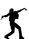 Hip hop funk dancer dancing man zombie walk full length silhouette of a young funky r b on isolated studio white background Royalty Free Stock Photo