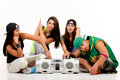 Hip hop gang posing one male three females Stock Photos