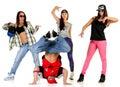 Hip hop gang posing one male three females Royalty Free Stock Photo