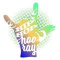 Hip Hop Hooray on Rock Hand Devil Horn Royalty Free Stock Photo