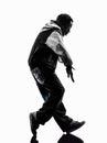 Hip hop moonwalking break dancer breakdancing young man silhouet Royalty Free Stock Photo