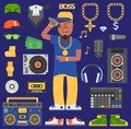 Hip hop raper vector man musician icons with microphone breakdance expressive rap artist portrait. Modern young hip-hop Royalty Free Stock Photo