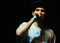 Hip hop singer performs in concert at street heroes urban festival rpmanian deliric during a Stock Photography