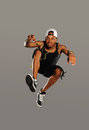 Hip Hop style dancer jumping Royalty Free Stock Image