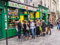 Hip Parisians line up at falafel shop in the Marais, Paris, Fran Royalty Free Stock Photo