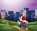 A hiphop dancer near the tall buildings