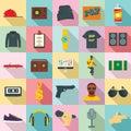 Hiphop rap swag music dance icons set, flat style