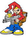 Hiphop warrior character with gun and spray can Stock Photography