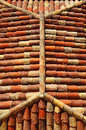 Hipped roof with red tiles Royalty Free Stock Photos