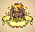 Hippie with a beard and long hair in the middle of the label surrounded by ornaments of plants bottom tape with space to insert Stock Photo