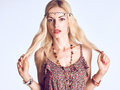 Hippie boho woman sensually looks. Romantic style Royalty Free Stock Photo