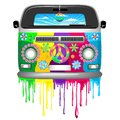 Hippie Bus with Dripping Rainbow Paint Groovy Retro Vechicle Vector Illustration