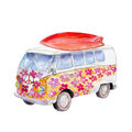 The hippie bus with surfboard, watercolor illustration isolated on white.