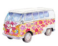 The hippie bus, watercolor illustration isolated on white.