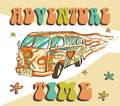 Hippie car, mini van on rays background. Bright adventure vector poster. Psychedelic concept.