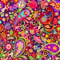 Hippie vivid colorful wallpaper with abstract flowers, hippie peace symbol, peace and love words, mushrooms, pomegranate and paisl Royalty Free Stock Photo