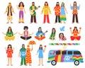 Hippie Decorative Icons Set