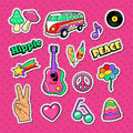 Hippie Fashion Doodle. Stickers, Badges and Patches with Hands and Colorful Elements