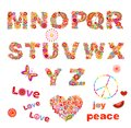 Hippie floral alphabet with funny colorful flowers. Part 2 Royalty Free Stock Photo