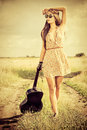Hippie fredom romantic girl travelling with her guitar summer style Royalty Free Stock Photography
