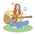 Hippie girl with guitar vector illustration Stock Photos