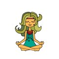 Hippie girl, meditation