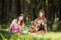 Hippie girls on nature Royalty Free Stock Photo