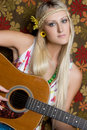 Hippie Guitar Girl Royalty Free Stock Photos