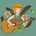 Hippie guitarist illustration of a young Stock Photography