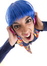 Hippie headphones sream hippy girl with her colorful costume dancing Stock Photo