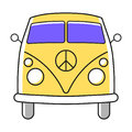 Hippie minivan simple illustration with Nuclear Disarmament Pacifist symbol.