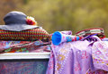 Hippie objects over roof van Stock Photo