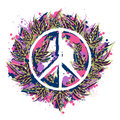 Hippie peace symbol with cannabis leaves in watercolor style. Hippie theme.