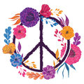 Hippie peace symbol with flowers, leaves and buds. Collection decorative floral design elements.