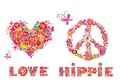 Hippie print with heart shape, abstract colorful flowers, peace symbol, mushrooms and rainbow