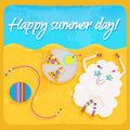 Hippie sheep resting on the beach happy summer day Royalty Free Stock Image