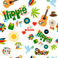 Hippie sign seamless pattern