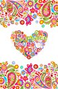 Hippie t shirt print with colorful flowers seamless border and floral heart shape with peace, love, joy words, peace hippie symbol Royalty Free Stock Photo