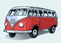 Hippie vintage bus, retro car, hand-drawing. Red cartoon bus with shadow