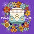 Hippie vintage car a mini van. Ornamental background.