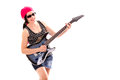 Hippie woman with electric guitar isolated on white background Royalty Free Stock Photos