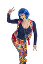 Hippie woman flower hippy girl with her colorful costume dancing Stock Photography